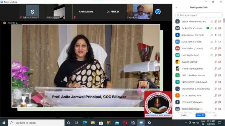 GDC billawar organized National Webinar